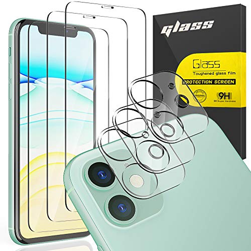 """[6 Pack] AUDON 3 Pack Screen Protector Tempered Glass for iPhone 11 +3 Pack Camera Lens Protector Tempered Glass for iPhone 11 (6.1""""), 3D Edge Anti Scratch Bubble Free HD Clear"""