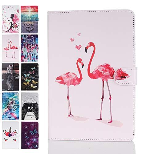 Ancase Universal 7.5-8.5 Zoll Tablet Hülle kompatibel für Tablette 8 8.0 7.9 8.4 Zoll Samsung Huawei Apple Lenovo Hülle Leder Tasche Schutzhülle Flip Cover - Flamingo