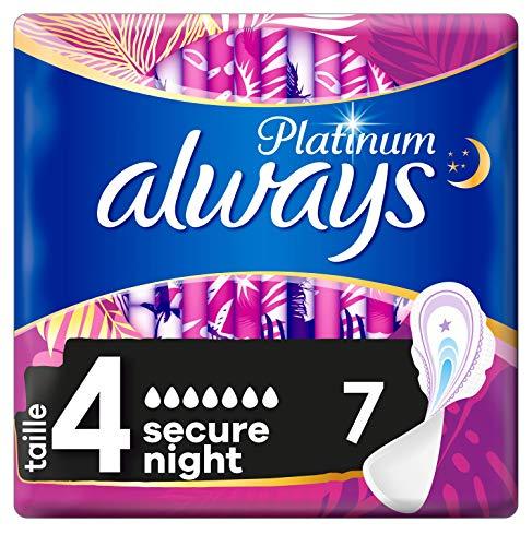 Always Platinum Secure Night - Servilletas higiénicas con plumas
