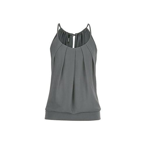 0f167b363a Kanpola Women Summer Loose Ruched Round Collar Cami Tank Tops Ladies Plus  Size Spaghetti Strap Vest