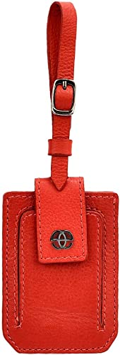 Paris Leather Luggage Tag Travel Id Label Tag for Bags Backpacks and Suitcases Red