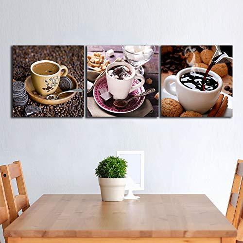 MMLFY 3 canvas schilderijen 3 Panelen Chocolade Cup Lepel schilderijen voor de keuken fruit muur decor moderne canvas kunst muurfoto's voor woonkamer geen frame