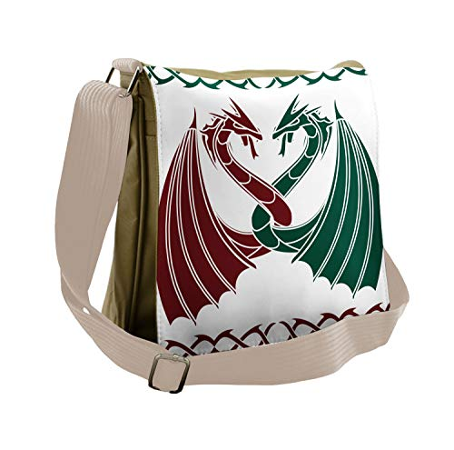 Lunarable Celtic Messenger Bag, Mythical Dragons Intertwined, Unisex Cross-body