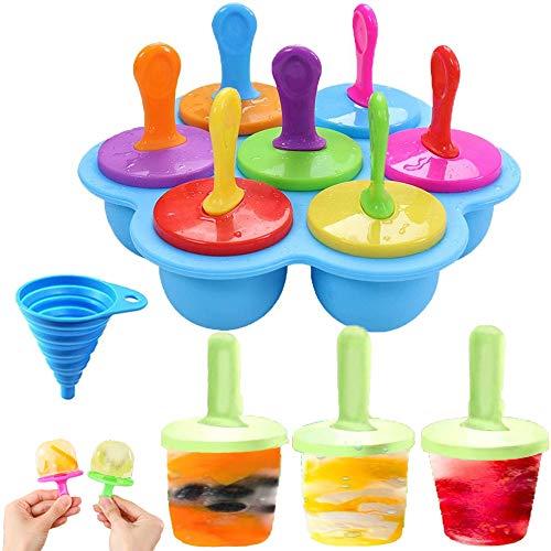 Iindes - Juego de 7 moldes de silicona para helados, moldes para helados, moldes para picaduras de huevo, moldes para alimentos de bebé, moldes con embudo plegable de silicona