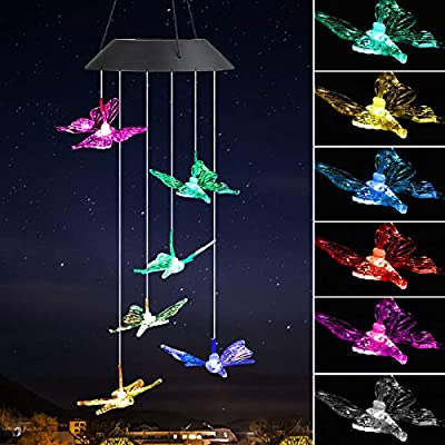 EEEKit Butterfly Solar Wind Chimes, Solar Powered Windchime Color-Changing Led Hanging Lamp Light Wind Chime for Outdoor Indoor Gardening Yard Pathway Decor