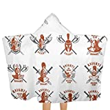 qisile Toalla de baño Set of Emblems with Knights Swords and Shields Hooded Beach Towels,Pool Bath Towel Soft Microfiber Multi-Purpose Poncho Swim Cover Changing Robe Fun Multi-Use For Bath Shower P