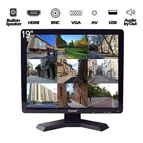 19-Zoll Profi CCTV-Monitor mit VGA HDMI AV BNC, 1280x1024 Eingebauter Lautsprecher(LED-Hintergrundlicht) LCD-Sicherheitsbildschirm mit USB-Laufwerksplayer für Heim-/Shop-Überwachungskamera STB PC usw.