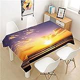 XXDD Sunset Glow Mantel Poliéster Hotel Mesa de Picnic Mantel Rectangular Mesa de Comedor para el hogar Mesa de Centro Decoración Hogar A6 140x180cm