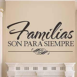 DigTour WallArt Vinyl Spanish Wall Decal Spanish Quote Family Wall Sticker Mural Home Art Decor - Familias Son para Siempre Black