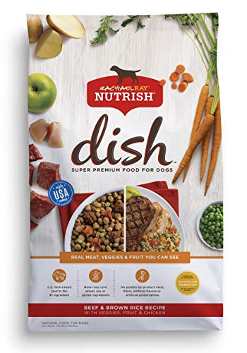 Rachael Ray Nutrish Dish Premium Natural Dry Dog Food, Beef & Brown Rice Recipe with Veggies, Fruit & Chicken, 23 Pounds