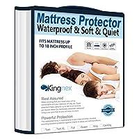 Kingnex マットレスカバー マットレスプロテクター 低刺激性 ウルトラソフト 通気性 防水性 バンブーコットンジャージー キング ホワイト 12000355