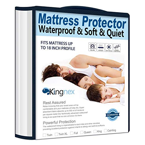 Kingnex Extra Long Waterproof Bamboo Mattress Protector Twin XL Hypoallergenic Breathable Fitted Matress Protection Cover