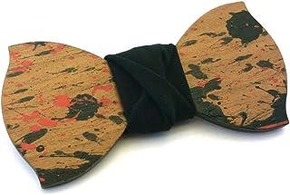 GIGETTO Papillon legno di ciliegio Made in Italy Serie Action Painting Nodo cotone nero
