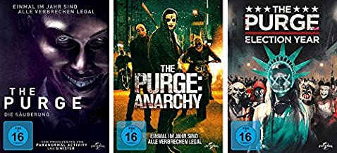 The Purge - Teil 1 + 2 + 3 ( die Säuberung + Anarchy + Election Year) im Set - Deutsche Originalware [3 DVDs]