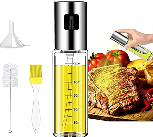 Olive Oil Sprayer for Cooking, Food-Grade Glass Oil Spray Bottle Oil [ Comes with funnel oil brush cleaning brush ] Oil Sprayer Mister for Cooking BBQ, Salad, Frying, Roasting, Baking