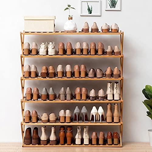 ErZhuiZi Almacenamiento de Zapatero de Madera de Bambú,Zapateros de 6 Niveles, Organizador de Soporte de Zapatos Apilable, 18-36 Pares de Zapatos, El 100x25x100cm,Yellow-100cm