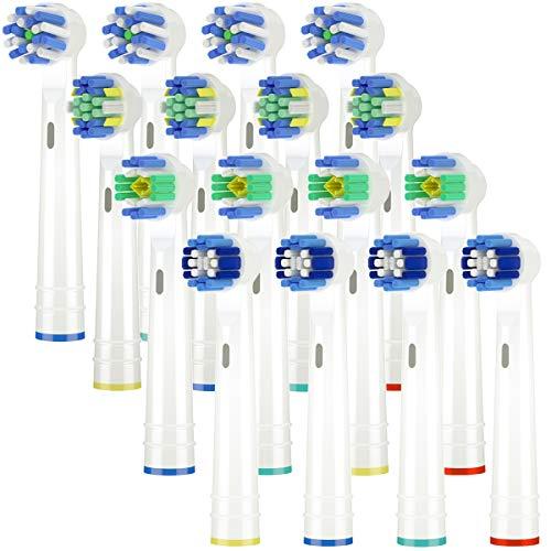 ITECHNIK Ricambi Spazzolini Elettrici per Oral b, Testine di ricambio per spazzolino elettrico compatibile con Oral-B Braun include 4pzs Precision, 4pzs Floss, 4pzs Cross e 4pzs White clean