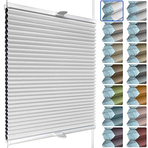 SchattenFreude Waben-Plissee nach Maß für Fenster | 100% verdunkelnd/Blackout | Mit Klemm-Haltern | Klemmfix ohne Bohren | Weiß (Weiße Rückseite), Breite: 70-90cm x Höhe: 30-100cm
