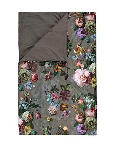 ESSENZA Plaid Fleur Blumen Pfingstrosen Tulpen Polyester Taupe, 135x170 cm