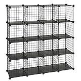 SONGMICS Metal Wire Cube Storage,16-Cube Shelves Organizer,Stackable Storage Bins, Modular...