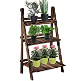 Outsunny 31.5' x 14.75' x 37' 3-Level Rustic Wooden Folding Plant Stand with Slatted Bottom & Elevated Vertical Design
