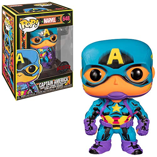 Funko- Pop Marvel Black Light Captain America Juguete Coleccionable, Multicolor (48845)