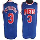 Haoshangzh55 Camisetas De Baloncesto para Hombre, Brooklyn Nets # 3 Drazen Petrovic, Camiseta De Baloncesto Retro con Chaleco Deportivo, Camiseta Sin Mangas,M(170~175CM)