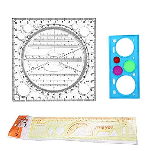 Kaimeilai Regla de dibujo multifuncional, regla de dibujo con líneas, plantilla de dibujo, regla de medición rápida, regla de dibujo, regla transparente, multiuso para oficina escola