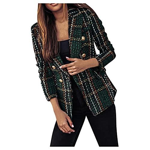 jikolililili Blazers para mujer de negocios, casual, frente abierto, ligero, oficina, chaqueta, Ejercito Verde, L