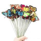 IKAAR 25 Stück Schmetterlinge Deko Garten Schmetterlinge Stange 4cm 3D Schmetterling Bunte Patio Ornamente Auf Stöcke Wasserfest für Pflanzendekoration Terrasse Outdoor Hof Garten Dekoration