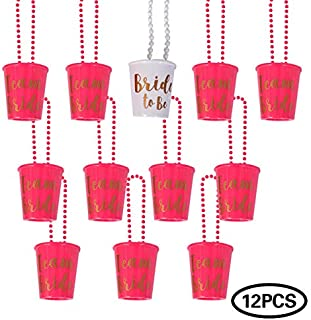 Shot Necklace,Bridal Shot Glass Necklace,Team Bride and Bride to Be Plastic Beaded,Necklace Shot Glasses,Pink and White with Gold Foil for Bachelorette Party Bridal Party Necklaces- 12 Pieces