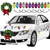 Aneco Christmas LED Car Wreath Christmas Christmas Car Refrigerator Reflective Bulb Light Decorations Christmas Automotive Wreath for Car Christmas