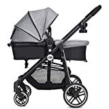 INFANS 2 in 1 Baby Stroller, High Landscape Infant Stroller & Reversible Bassinet Pram, Foldable Pushchair with Adjustable Canopy, Storage Basket, Cup Holder, Suspension Wheels (Grey)