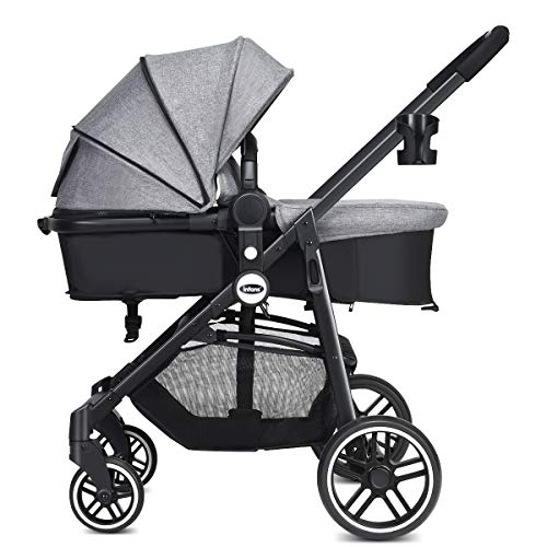 INFANS 2 in 1 Baby Stroller, High Landscape Infant Stroller & Reversible Bassinet Pram, Foldable Pushchair with Adjustable Canopy, Cup Holder, Storage Basket, Suspension Wheels (Grey)