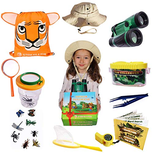 Kids Outdoor Toys.Bug Catching kit with Compact Binoculars for Kids, Magnifying Glass kids Safary Hat, Butterfly Net and 20 items more. Birthday Christmas fun gift box for 3 4 5 6 7 8 9 Boys and Girls