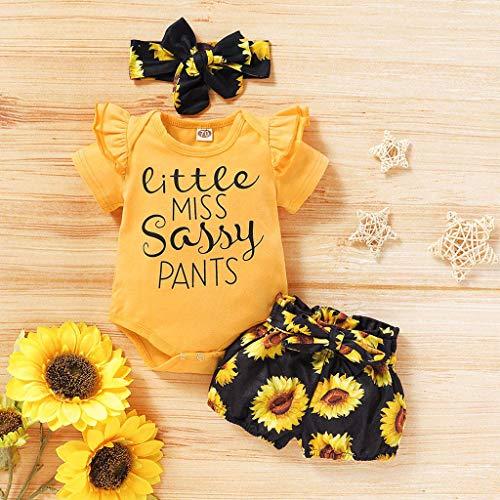 Janly Clearance Sale Conjunto de pantalones para bebé de 0 a 18 meses, mameluco con estampado de letras, conjunto de pantalones cortos de girasol, para bebés de 3 a 6 meses (amarillo)