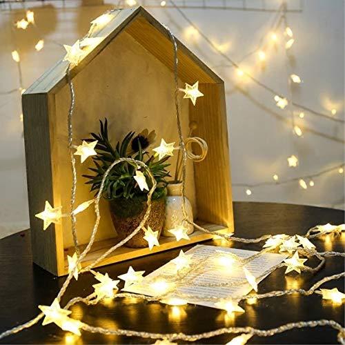 Warm White leggiadramente della Stringa a Pile di luci Luminose Decorative Chiaro Filo for Natale Fai da Te (10 M 80 Luci) (Size : Star Lights)