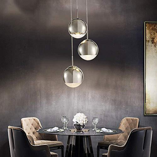 KEWEI - Lámpara de pared para sala de estar, restaurante, tres dormitorios, mesas de hotel, bar, cristal redondo, lámpara de techo, 44 x 44 x 100 cm, color plateado