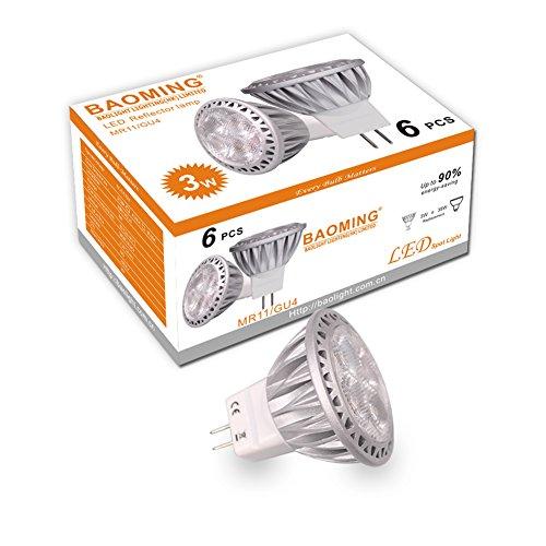 Baoming, MR11 GU4, LED-Lampen, 35 W, Halogenlampen-Äquivalent 12V DC/AC, 3 W, 250 LM, 30° Abstrahlwinkel, Warmweiß, 2700K, LED-Glühbirnen-Pack mit 6 Einheiten