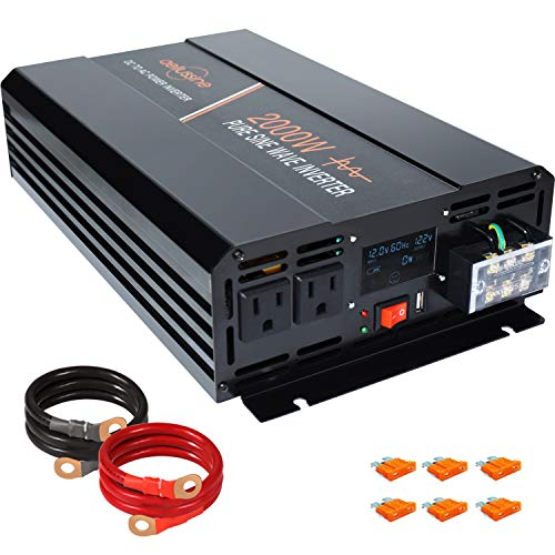 aeliussine Power Inverter 2000W Pure Sine Wave Inverter 12v DC to AC 120v Peak 4000 Watt Converter with LCD Display USB Charge Port for Car RV Boat Solar Power System.
