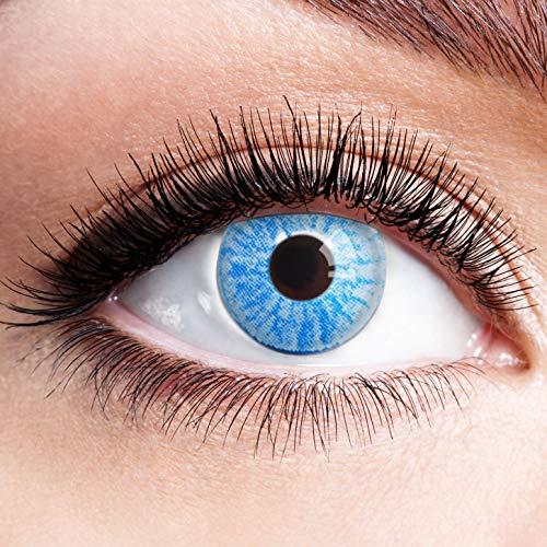 Farbige Kontaktlinsen Blau Ohne Stärke Blaue Jahreslinsen Weiche Motiv-Linsen Farbig Halloween Karneval Fasching Cosplay Kostüm Light Ice Blue Sky Weiß
