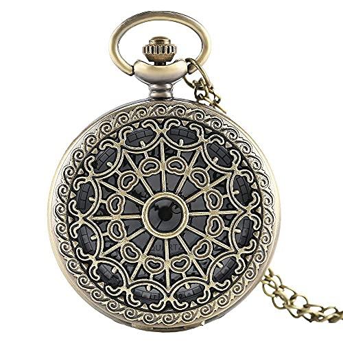 Reloj de Bolsillo Bronce Antiguo Vintage Telaraña Hueco Colgante Collar Reloj de Bolsillo de Cuarzo Hombres Mujeres Suéter único Collar Reloj