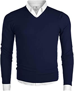 MOCOTONO Men's V-Neck Long Sleeve Pullover Casual Sweater