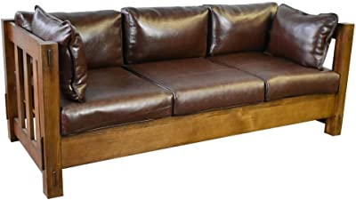 Heartland Mission Slat Sofa - Solid Oak and Leather