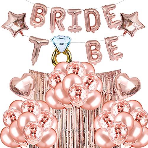 HONGECB Bride To Be Palloncini, Addio Al Nubilato Decorazioni, Decorazioni Per Sposa In Oro Rosa, Con Banner, Palloncini Coriandoli, Per Sposa, Festa Di Addio Al Nubilato, 26 Pezzi