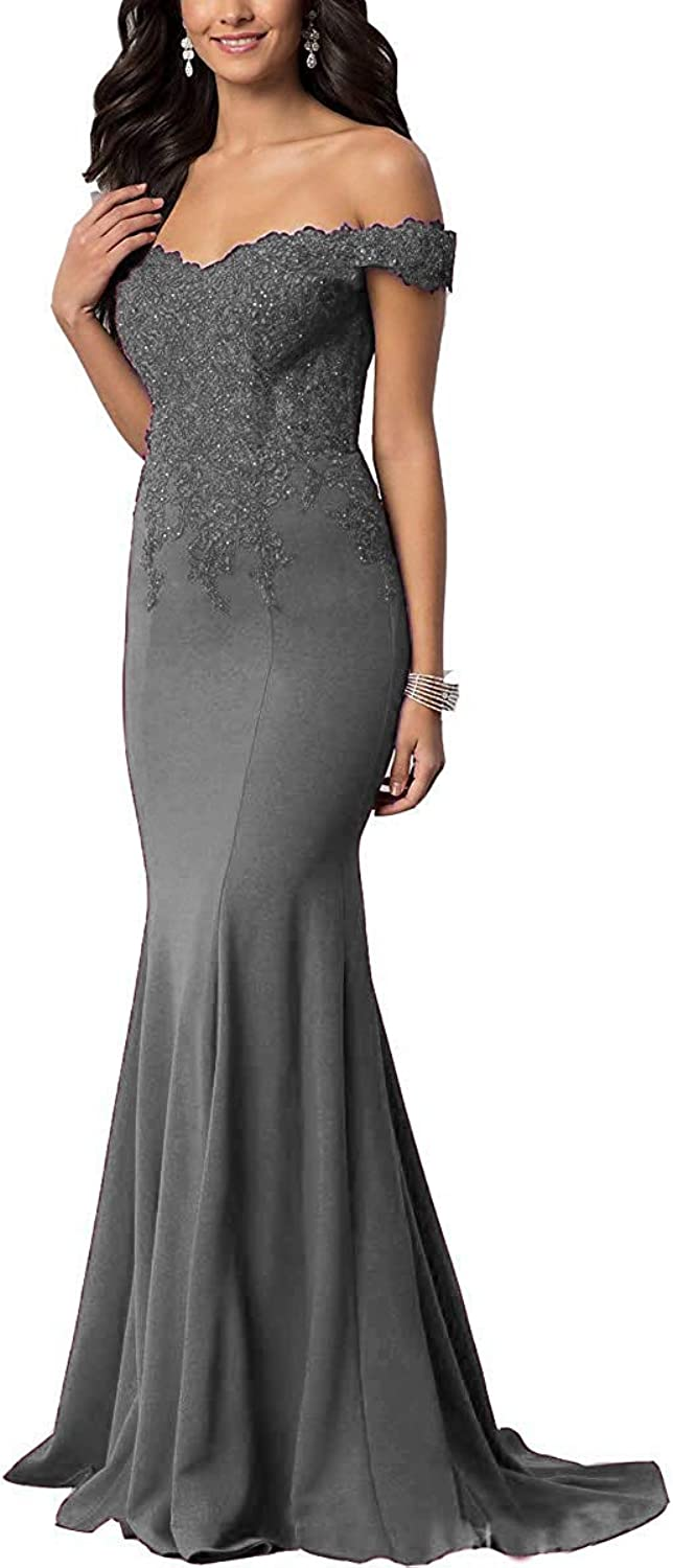 JQLD Women's Strapless Mermaid Bridesmaid Dress 2019 Beaded Long Evening Prom Gowns