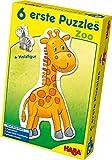 Haba 4276 - 6 Erste Puzzles Zoo, mit 6 niedlichen Zootiermotiven für Kinder ab 2 Jahren, mit Holzfigur zum freien Spielen