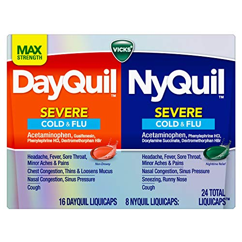 Vicks DayQuil & Nyquil Severe Cold, Flu & Congestion Medicine, 24 LiquiCaps Convenience Pack, 24Count