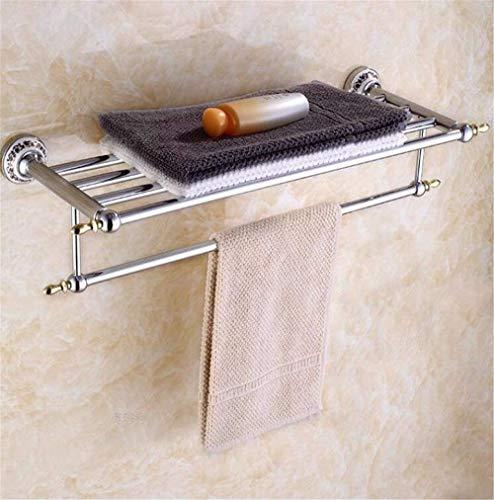 QTQHOME Tap Blau gekachelte Badetuchhalter Handtuchhalter Handtuchhalter Antik Messing Doppel Badezimmerwand,Einbauregal Küche 67cm,Farbe Chrom