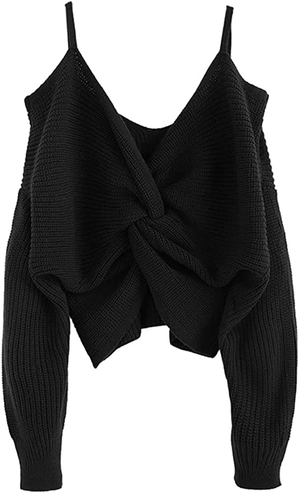 ZAFUL Women's Cold Shoulder Sweater Twist Knot Backless V Neck Straps Sexy Knit Pullover Jumper Crop Tops